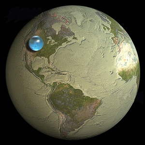 See that drop of water? That's how much water there is on Earth. TOTAL. Makes you think twice about wasting it, doesn't it?