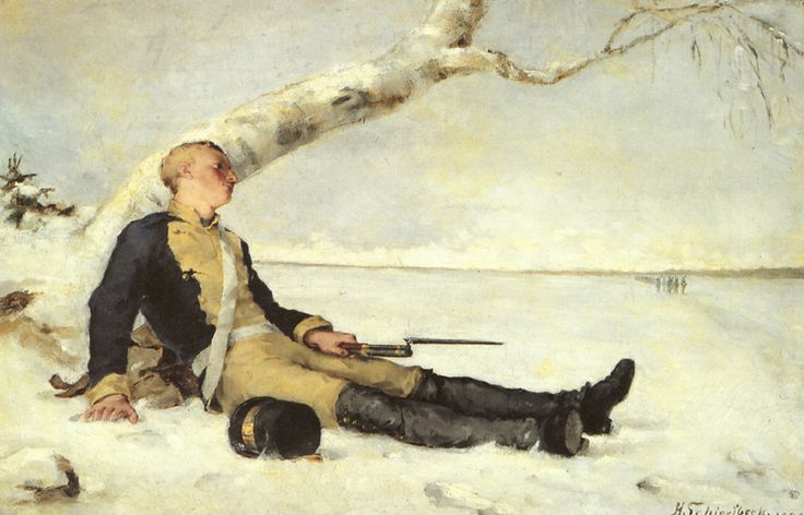 Wounded Warrior in Snow, Helene Schjerfbeck, 1880