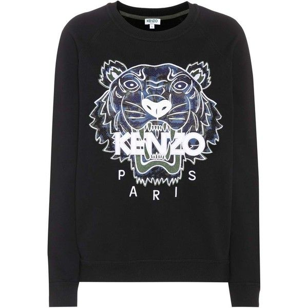 Kenzo Printed Cotton Sweater ($280) ❤ liked on Polyvore featuring tops, sweaters, black, kenzo top, kenzo sweater, kenzo and cotton sweaters