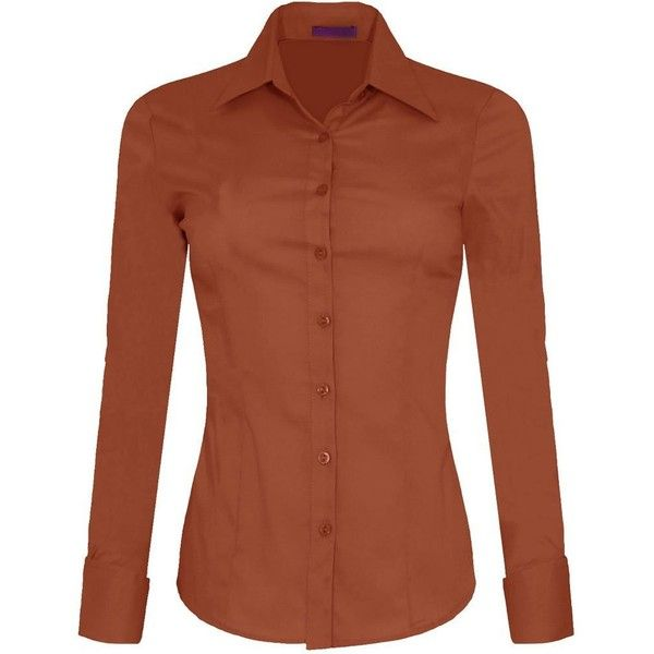 Iron Puppy Womens Long Sleeve Skinny Button Down Collared Shirts With... ($20) ❤ liked on Polyvore featuring tops, brown button down shirt, brown long sleeve shirt, brown shirts, long sleeve tops and long-sleeve shirt