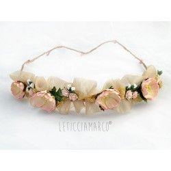 Conjunto de corona y pulsera para niña, damas de honor o arras. Corona de organza y flores.