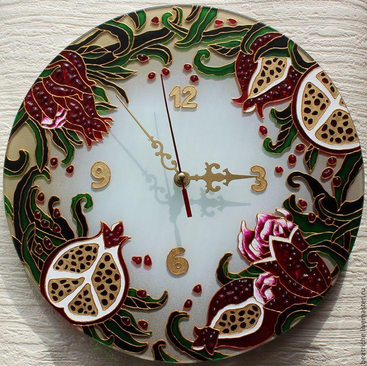 """Купить Часы """"Вкус граната"""" - разноцветный, часы, часы настенные, стекло, гранат, фрукты"""