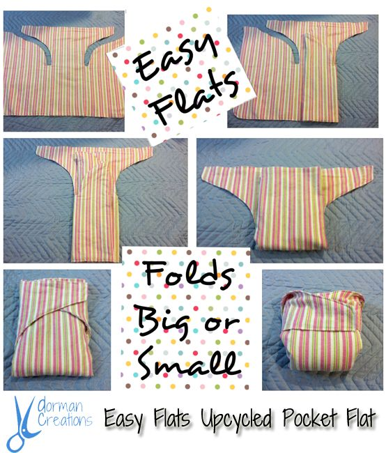 Dorman Creations Easy Flats Upcycled Pocket Cloth Diaper - All of the benefits of a flat diaper, but easier to use!