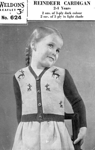 vintage girls cardigan knitting pattern from 1940s with reindeer