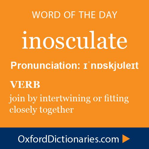 Word of the Day: inosculate Tomorrow, Oxford Dictionaries' Word of the Year 2014 #copywriting #grammar #spelling #oxforddictionaries www.writestuff.fi