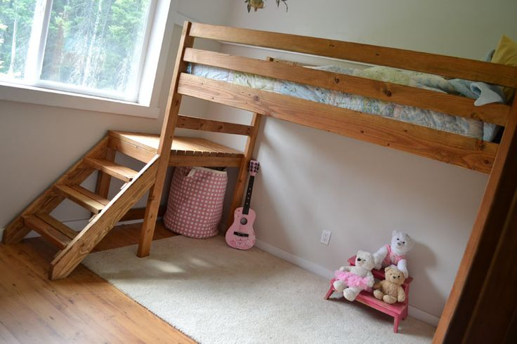 """Loft Bed w/ Stairs - DIY Plans.  We altered the plans a bit & made this taller & also added a shelf as """"head board"""". My kids LOVE this bed-SO glad we made it! First time she's ever chosen to sleep in a bed since she out grew her crib."""