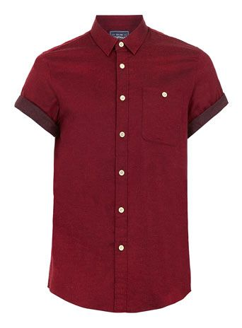 Red Contrast Flannel Short Sleeve Shirt - Men's Shirts  - Clothing