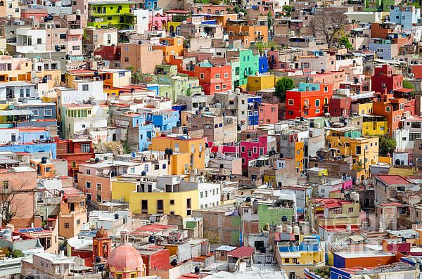 Neighbourhood. Guanajuato Mexico. We took a day trip here during our stay in San Miguel de Allende. Guanajuato is built up the steep sides of a canyon. With few exceptions, no roads connect the homes with the main road at the base of the canyon.  Fine Art Photography  http://rob-huntley.artistwebsites.com  © Rob Huntley