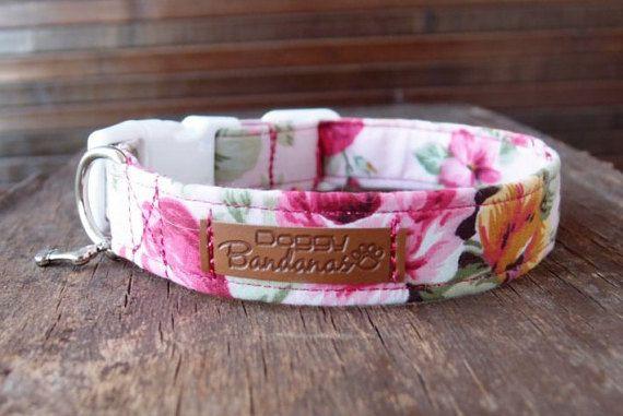 Custom Dog Collar Flower Roses Dog Collar Designer by DoggyBanda