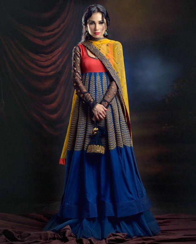 JOY MITRA Electric Blue Anarkali with Yellow Dupatta