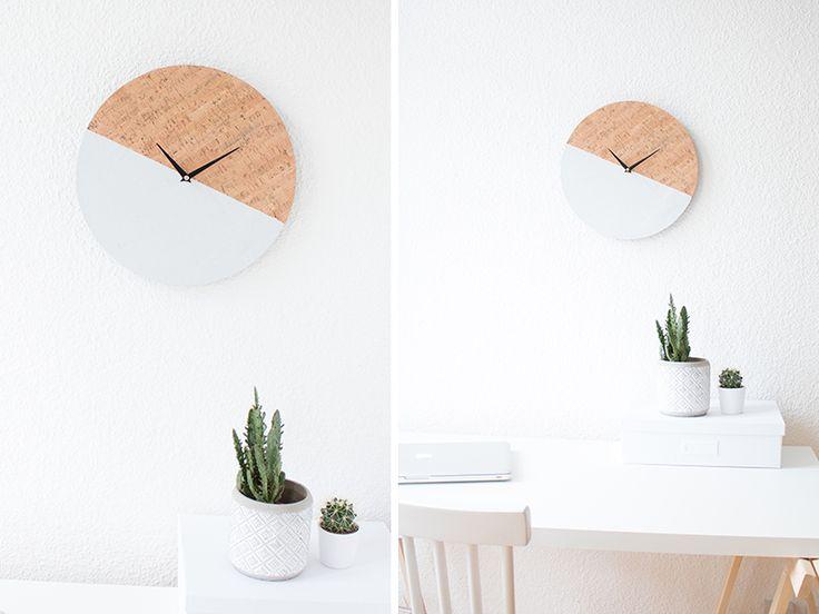 DIY Kork Farbblock Wanduhr | Uhr | Cork  | Wall | Clock | Workspace | Greens | Plants
