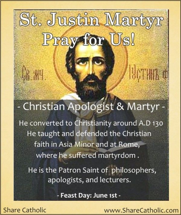justin martyr St justin martyr is widely regarded as the first christian philosopher and the first  great christian apologist as his name implies, he defended.