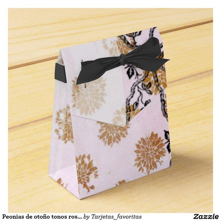 Peonias de otoño tonos rosados y un lazo negro cajas para regalos de boda