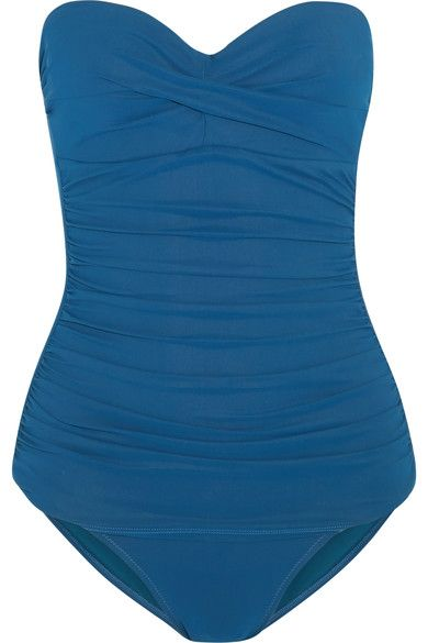 Heidi Klein's 'San Diego' swimsuit is cut from quick-drying fabric to see you from beach to bar with ease. Designed in the brand's signature storm-blue shade, it has a flattering ruched overlay and internal molded cups to create shape and support. Attach the halter straps for a retro twist.
