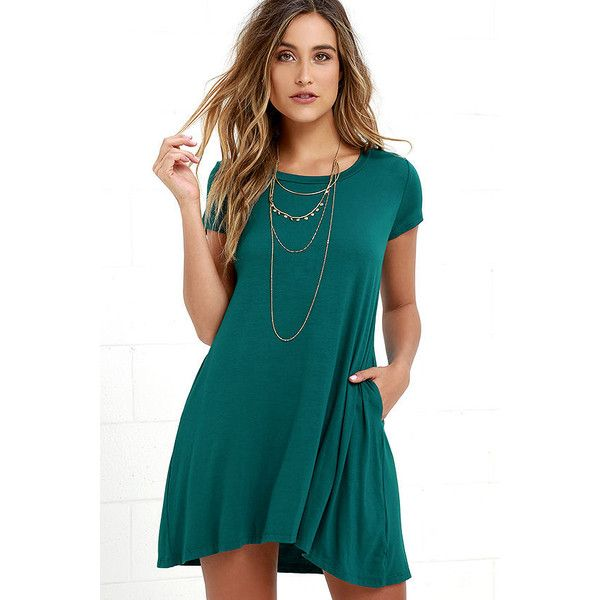 Twenty-four Seven Teal Shift Dress ($31) ❤ liked on Polyvore featuring dresses, green, teal blue dresses, short sleeve dress, blue green dress, roaring 20s dress and tshirt dress