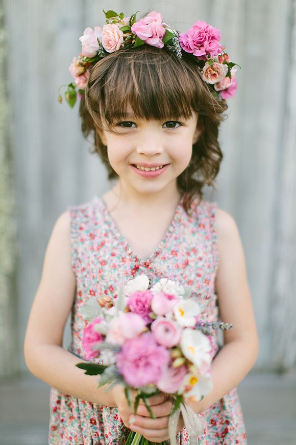 Beautiful farm wedding, flower girl hair dressing inspo. Lovely pink flower crown made of roses, carnation, lavender and sweet peas.