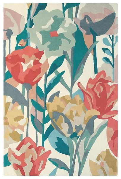 Add a floral touch with the Harlequin Verdaccio Coral 42802 Designer Modern Wool Rug