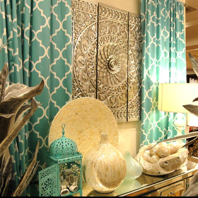 Z gallerie turquoise trellis drapes my living room is - Turquoise and yellow curtains ...