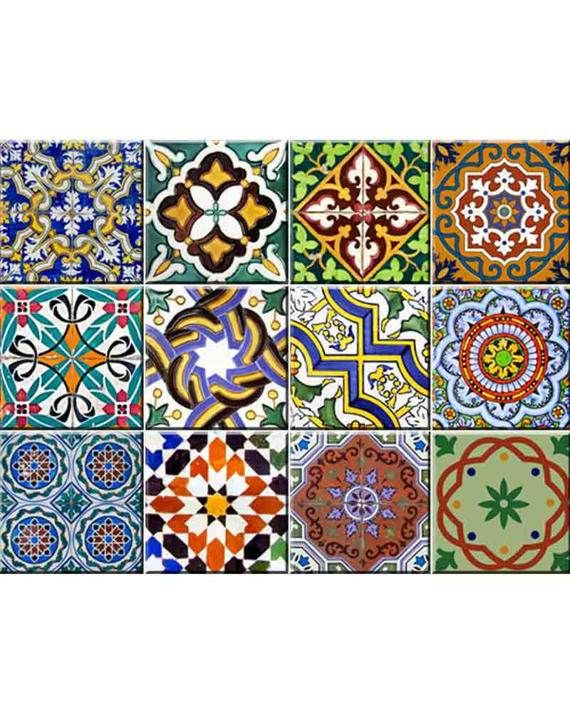 set of 24 vintage traditional mexican tiles decals bathroom stickers mixed tiles for walls kitchen home