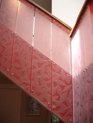 Stair Rail Made From 3 Form Ecoresin Panels Face Screwed
