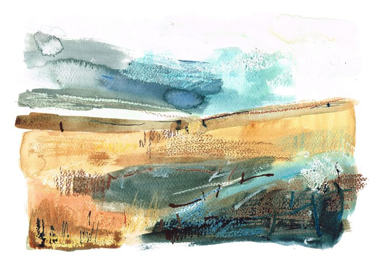 'Autumn Across Middlesmoor' by William Watson-West  Watercolour, pastel, ink and gouache on paper