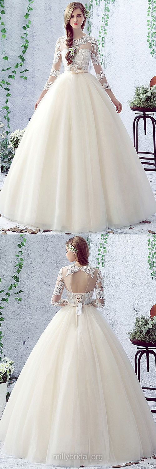 Sweet Ball Gown Wedding Dresses,Scalloped Neck Tulle Long Wedding Dress, Appliques Lace Bridal Dresses,3/4 Sleeve Open Back Wedding Dresses