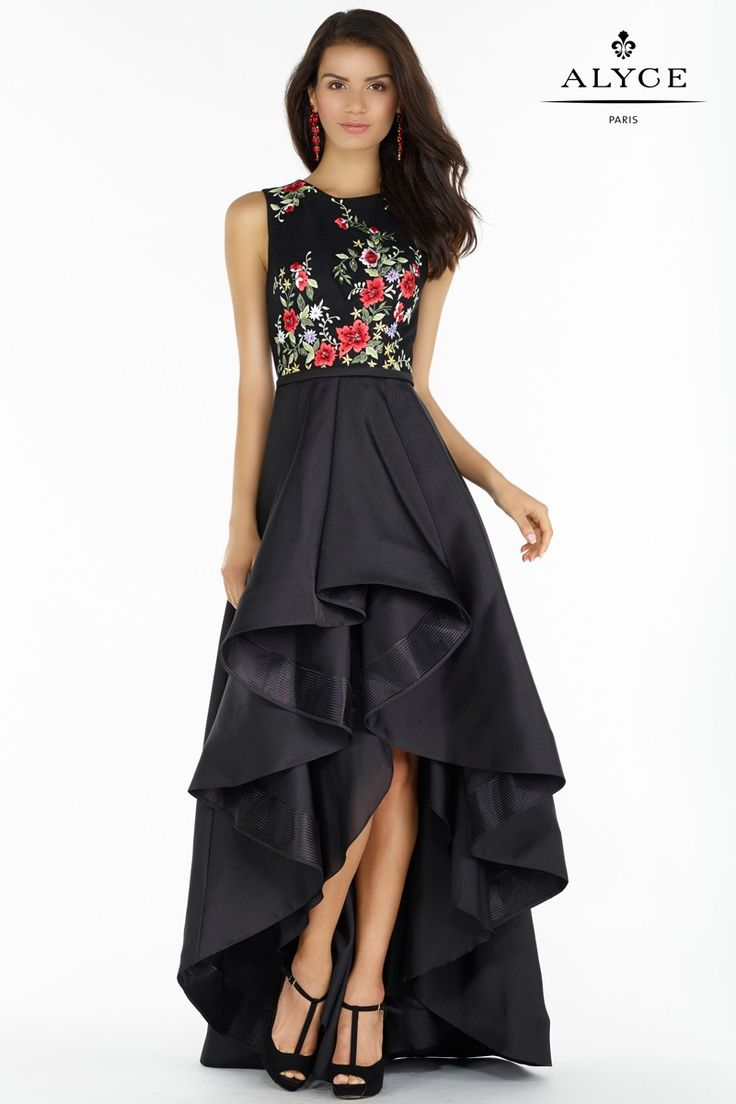 Alyce 6830 Mikado and Floral Embroidery Hi-Lo Evening Dress