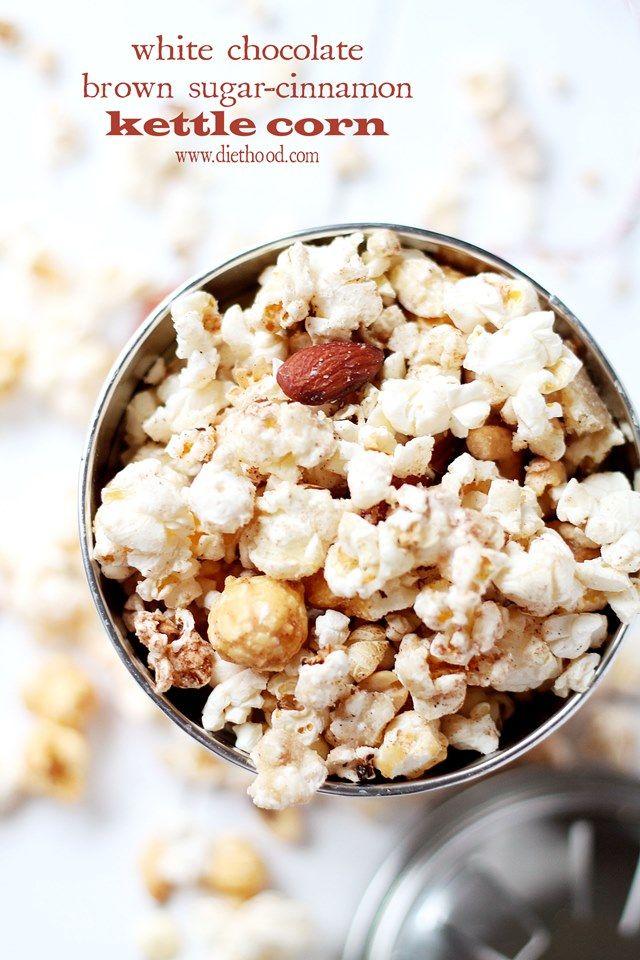 White Chocolate Brown Sugar-Cinnamon Kettle Corn | www.diethood.com | Delicious and festive Kettle Corn covered with melted white chocolate, brown sugar and cinnamon. | #popcorn #recipe #chocolate