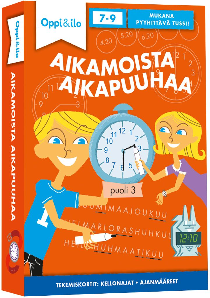Pakallinen hauskoja tehtäviä opettaa kellon lukemista ja ajan ymmärtämistä. Ratko, oivalla ja piirrä!  Mukana niin yö- kuin päiväaikoja, digitaalisia ja analogisia kelloja sekä muita ajanmääreitä. Sisältää pyyhittävän tussin. Vinkkikorteista voi tarkistaa vastaukset. Tämän pakan parissa kuluu helposti tunti jos toinenkin!