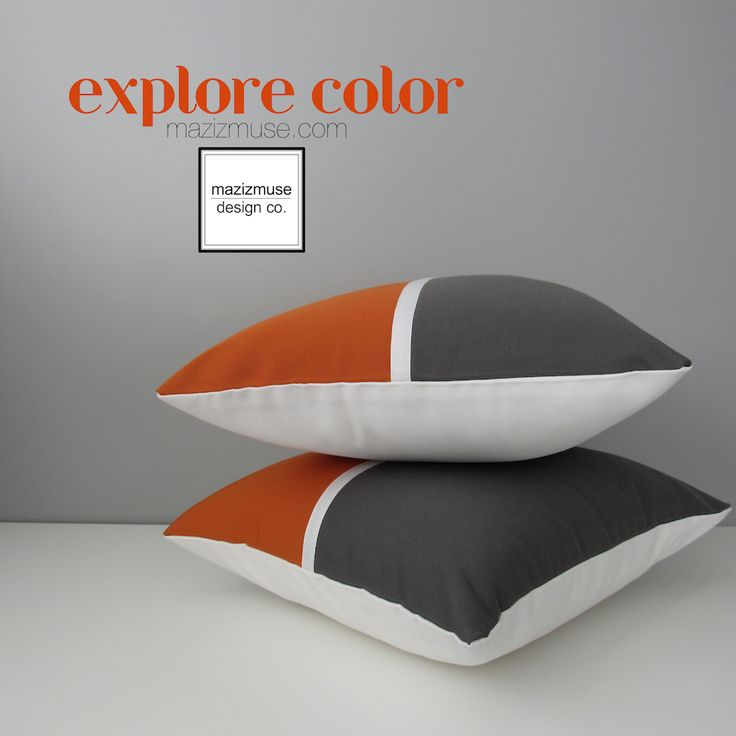 Grey and orange color block with a lift of white to contrast - sewn in Sunbrella indoor outdoor fabric for superior fade and stain resistance! #mazizmuse #modern #pillows #pillow #outdoor #grey #orange #white #masculine #sunbrella