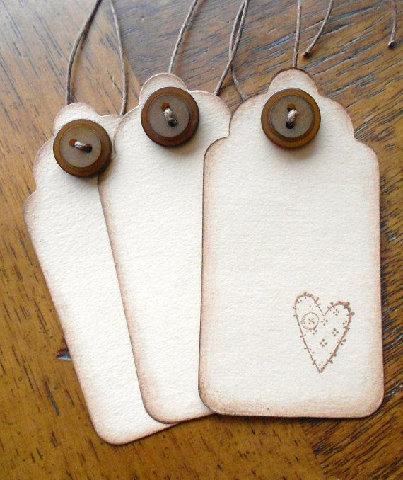 Patchwork Heart Gift or Jar Tags Prim Heart
