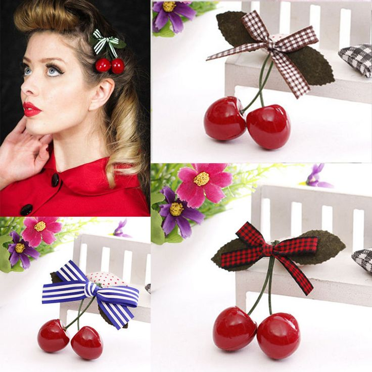 Hot Sell Cherry Bow Hair Clip Hairpins for Pinup Girls Vintage Hair Accessories   eBay