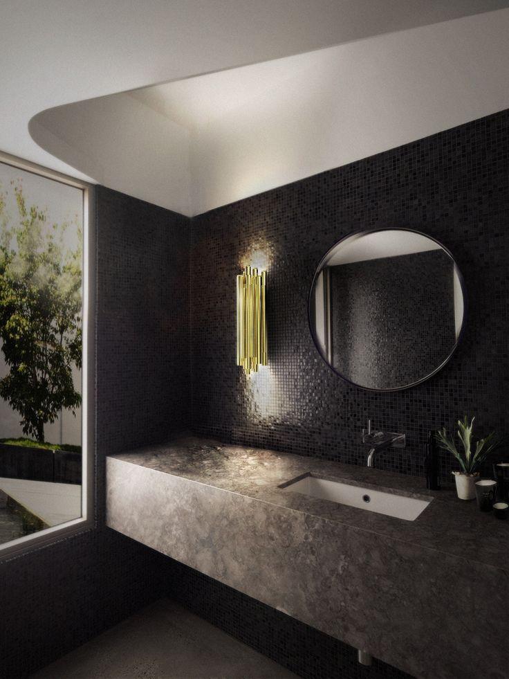 bathroom dressing room designs | Brubeck wall lamp by @delightfulll   is an instant classic sculptural design | #lightingdesign #bathroomlamps #luxurybathroom