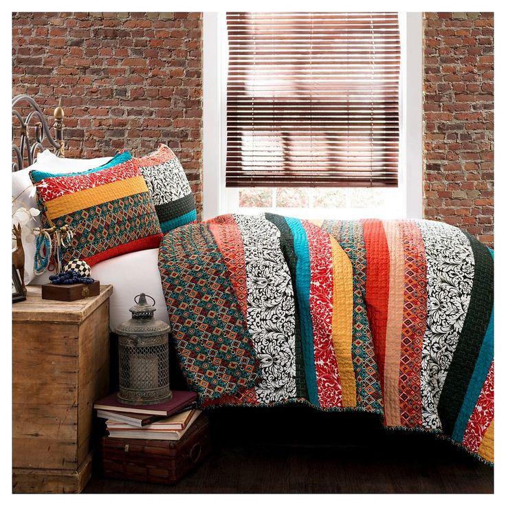Boho Stripe 3 Piece Set Quilt (King) Turquoise/Tangerine - Lush Décor,