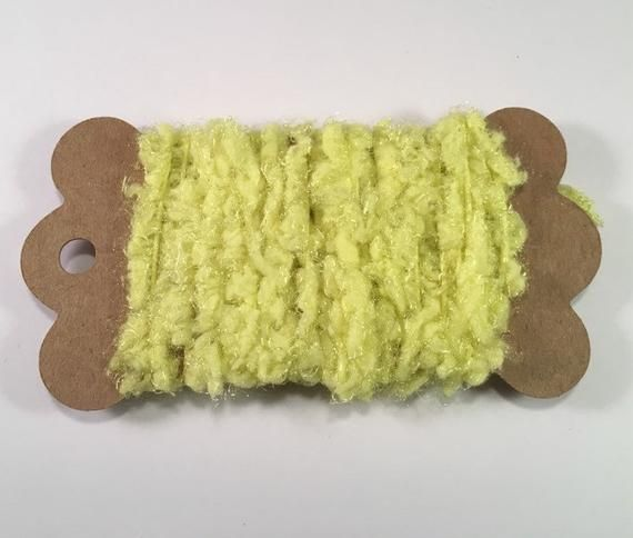 Novelty Fibers for Scrapbooks Mixed Media Junk Journals Tags Art Yarn Crafts Collage Cards Embellishments OrangeYellow 3 Yds Boucle Trim