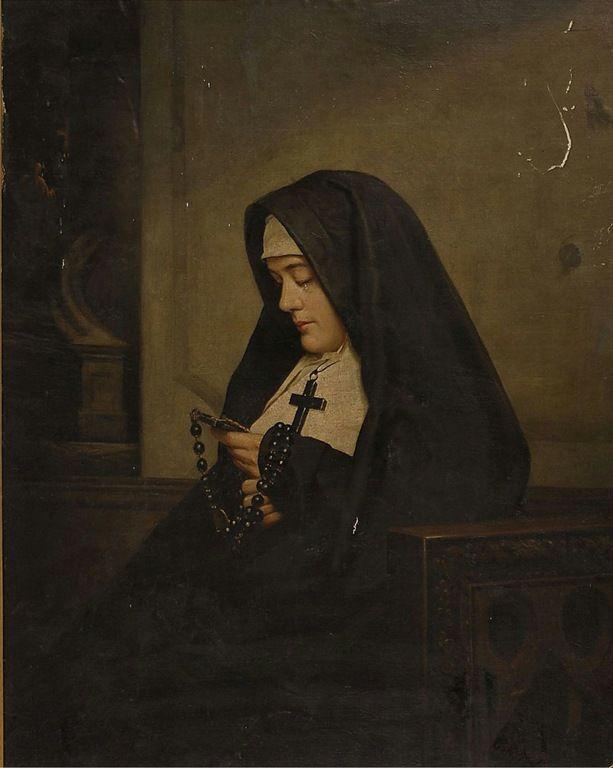 A oração do Rosário. Pintura de 1850.