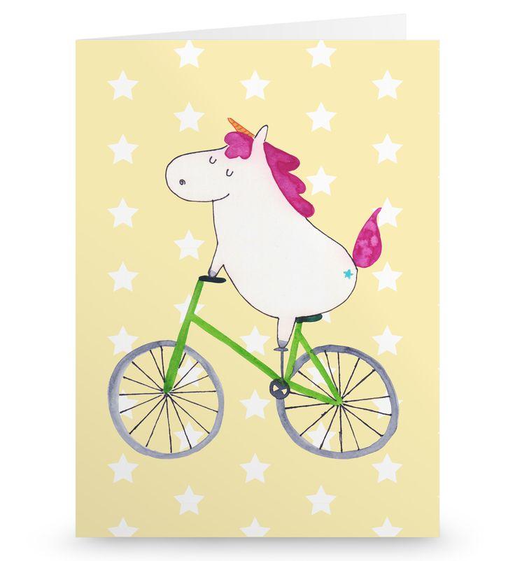 Grußkarte Einhorn Radfahrer aus Karton 300 Gramm  weiß - Das Original von Mr. & Mrs. Panda.  Die wunderschöne Grußkarte von Mr. & Mrs. Panda im Format Din Hochkant ist auf einem sehr hochwertigem Karton gedruckt. Der leichte Glanz der Klappkarte macht das Produkt sehr edel. Die Innenseite lässt sich mit deiner eigenen Botschaft beschriften.    Über unser Motiv Einhorn Radfahrer  Das Radfahrer-Einhorn zeigt, dass die Welt doch gar nicht so schlecht ist. Die meisten Probleme lösen sich zum…