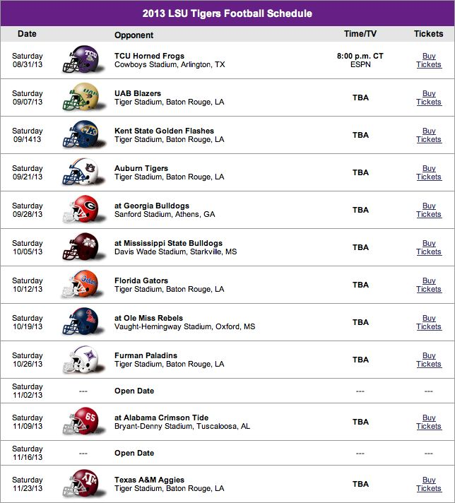 lsu football schedule 2013 | LSU Football 2013 Schedule and Roster