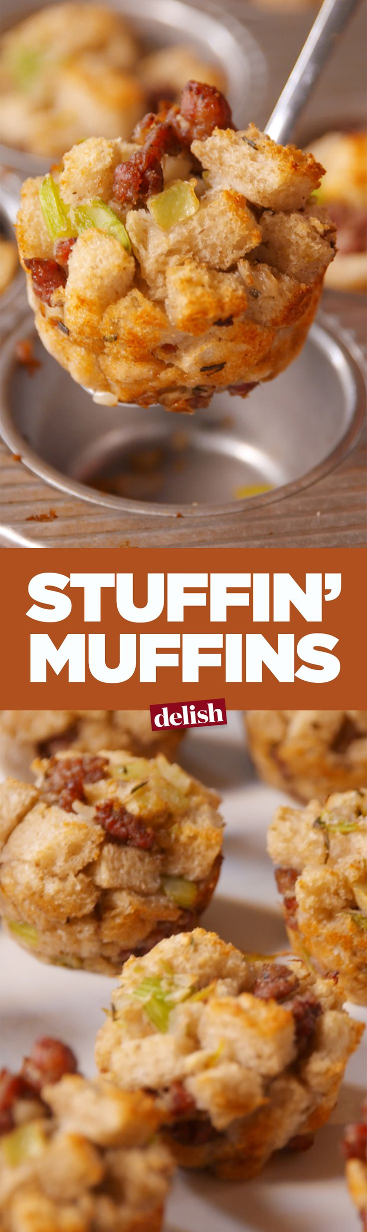 Stuffin' muffins should be a kids' table staple this year. Get the recipe on Delish.com.
