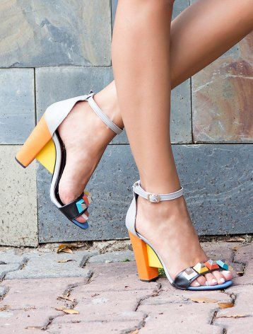 Passion Renkli Kombin Topuklu Sandalet