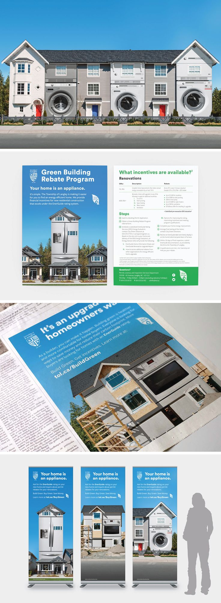 Township of Langley Green Building Rebate Campaign. Making homes energy efficient with green appliances | Ion Brand Design #photoshop #town #city #placebranding