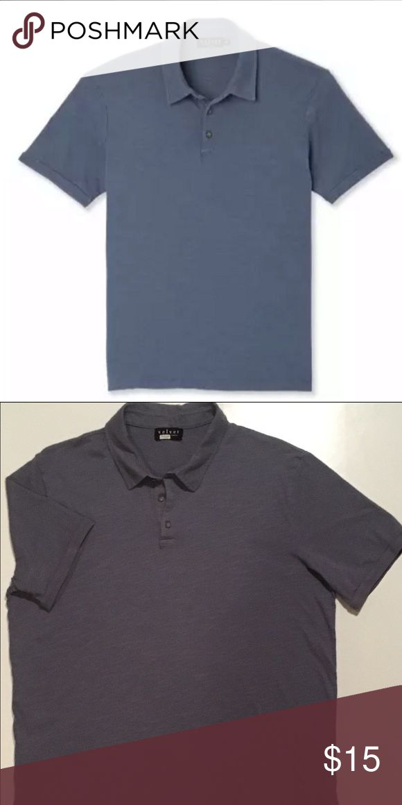 Short Sleeve Slub Polo by Velvetmen Purchased on Trunk Club. It is too large on me now. I wore this shirt 3 times at the most. Excellent condition.  The 1st photo is from the Trunk Club website and is representative of the actual color which is Pistol. The 2nd photo is of the actual shirt for sale. Velvet Shirts Polos