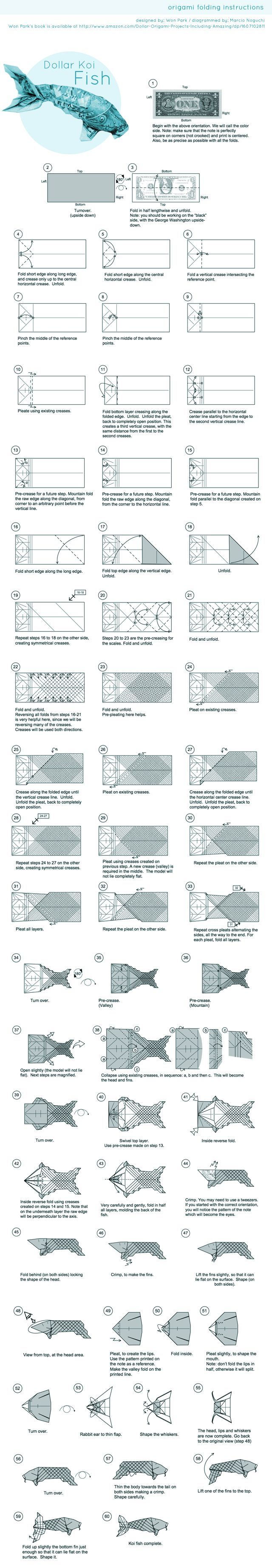 401 best origami images on pinterest for Origami koi fish tutorial