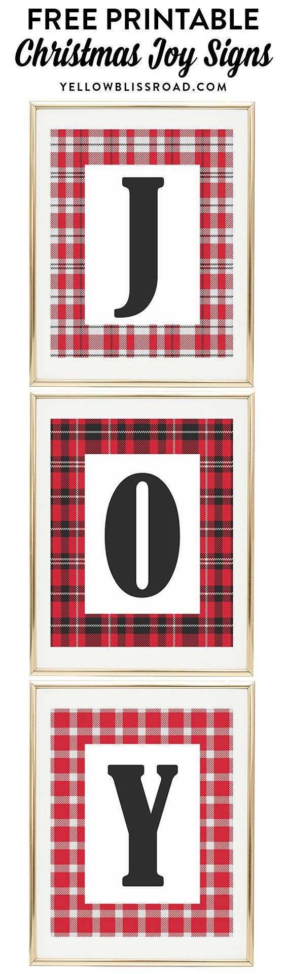 "Free Printable ""JOY"" signs in Christmas plaids | Christmas Printables | Christmas decor | Christmas crafts."