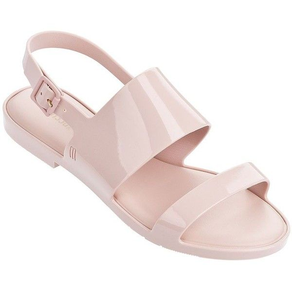 Melissa Women's Classy Slingback Sandals ($75) ❤ liked on Polyvore featuring shoes, sandals, white, red strappy shoes, padded sandals, cushioned sandals, slingback shoes and melissa shoes