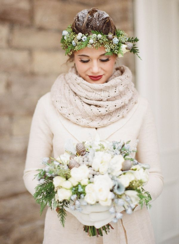 The perfect accessories for a winter bride: a cozy scarf & rustic flower crown. Just add snow!
