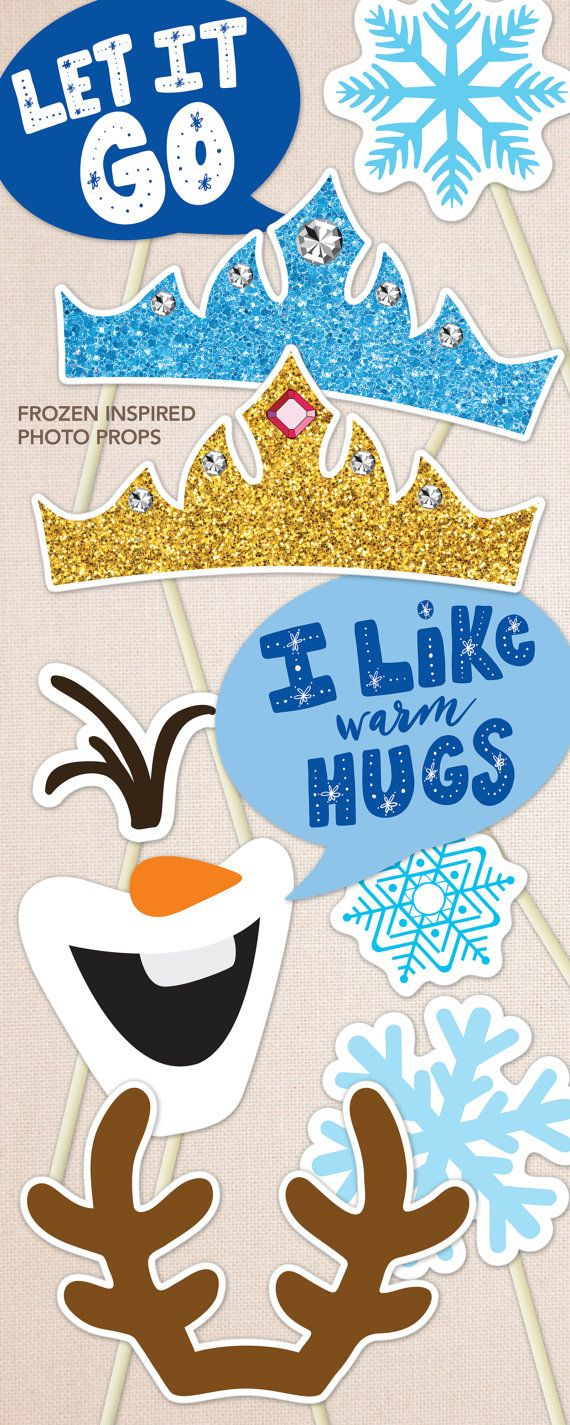 Birthday Photo Booth Props Frozen Inspired. Print by DesignTreats