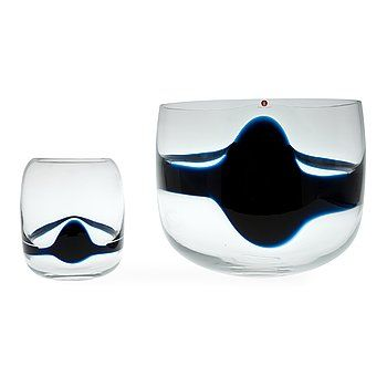 "TIMO SARPANEVA - Art glass bowls ""Blues"" (h.14-21 cm) for Iittala 1986, Finland."
