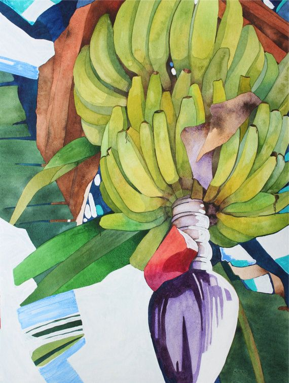 New Painting.....Art Original Watercolor Painting of a Tropical BANANA TREE