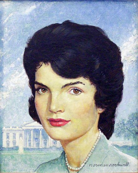 """Norman Rockwell (1894-1978), Portrait of Jackie Kennedy, 1963. Oil on canvas, 14"""" x 11"""". Story illustration for """"How Jackie Restyled the White House,"""" Saturday Evening Post, October 26, 1963. Collection of Mica and Richard Hadar. ©SEPS: Licensed by Curtis Licensing, Indianapolis, IN 